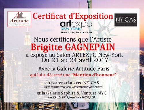 Certificat d'Exposition artexpo New York