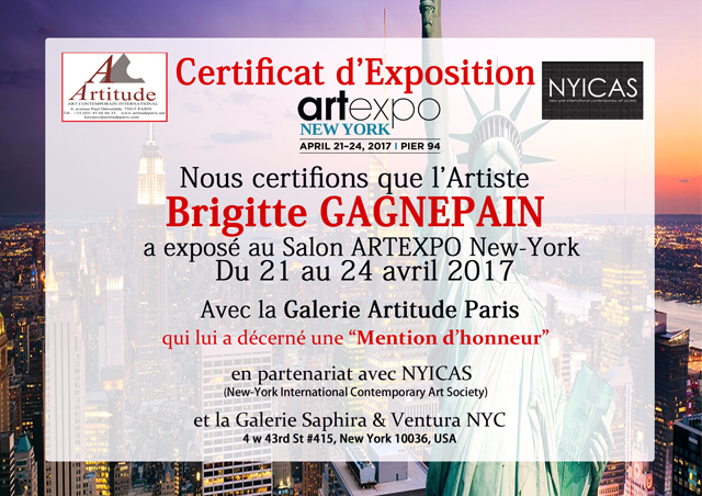 Certificat d'exposition New York 2017
